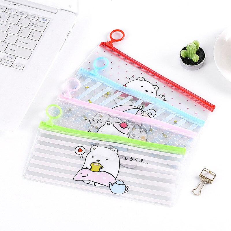 Cartoon Clear Woman Cosmetic Bag Portable Transparent PVC Makeup Bag Travel Zipper Toiletry Wash Pouch Toothbrush Organizer Bag