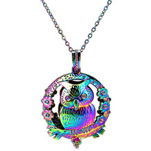 C969 Rainbow Color Big Round Magnet Owl Spray Beads Cage Pendant Locket Aroma Essential Oil Diffuser Locket Necklace(China)