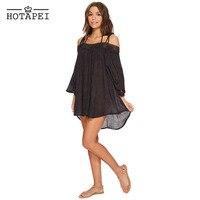 Hotapei Sexy Black Breeze Crochet Off The Shoulder Beachwear LC420027 Women 2018 New Summer Beach Cover
