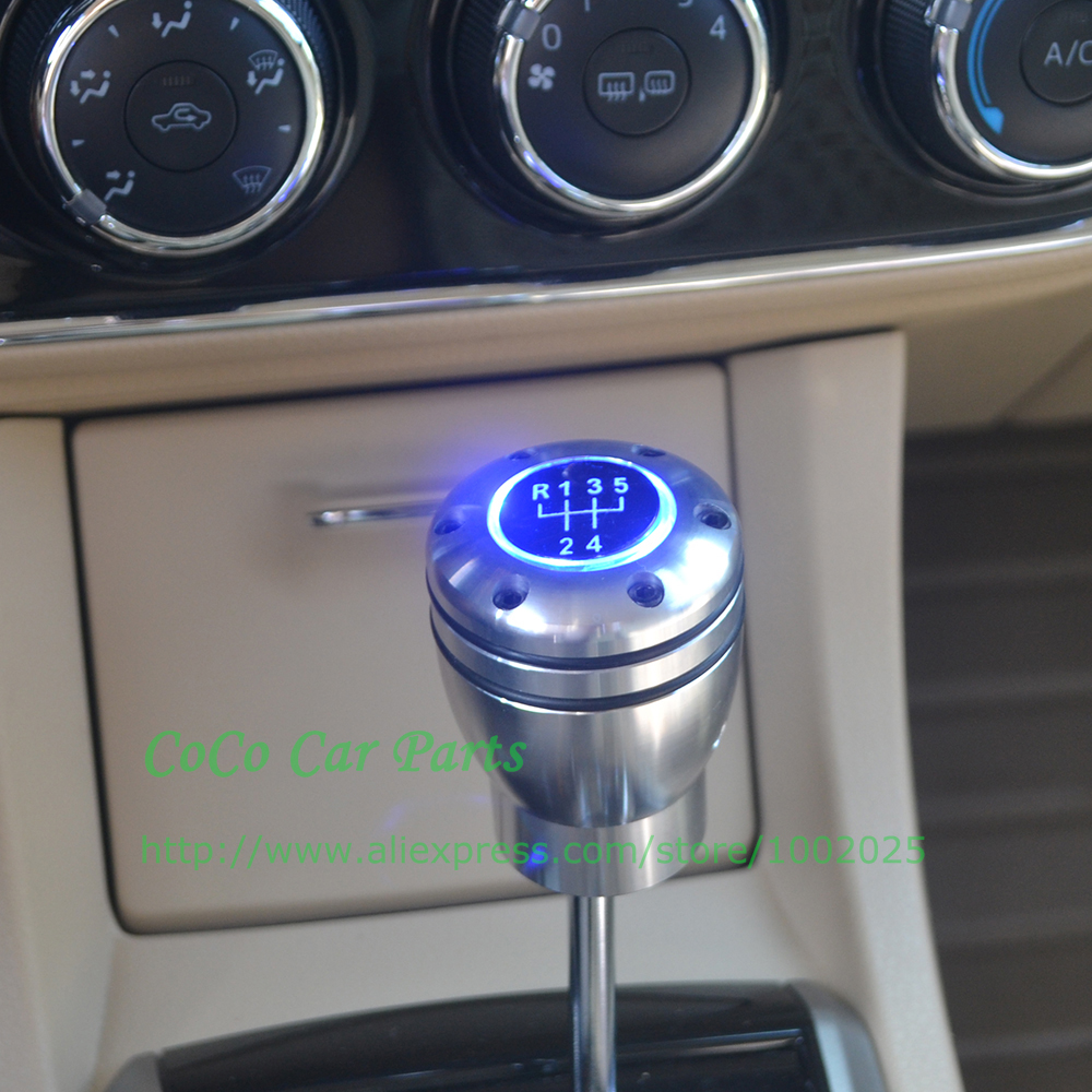 Free Shipping Blue Led 6mt Auto Gear Shift Knob 6 Speed