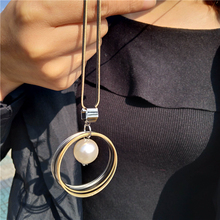 New Fashion Round Circles Long Necklaces & Pendants For Women Jewelry Sweater Necklace Collares