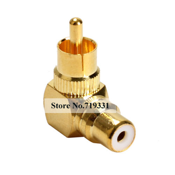 6pcs Gold Plated Right Angle RCA Adaptor Male to Female Plug Connector 90 Degree sale 20 pcs rca right angle connector plug adapters male to female 90 degree elbow