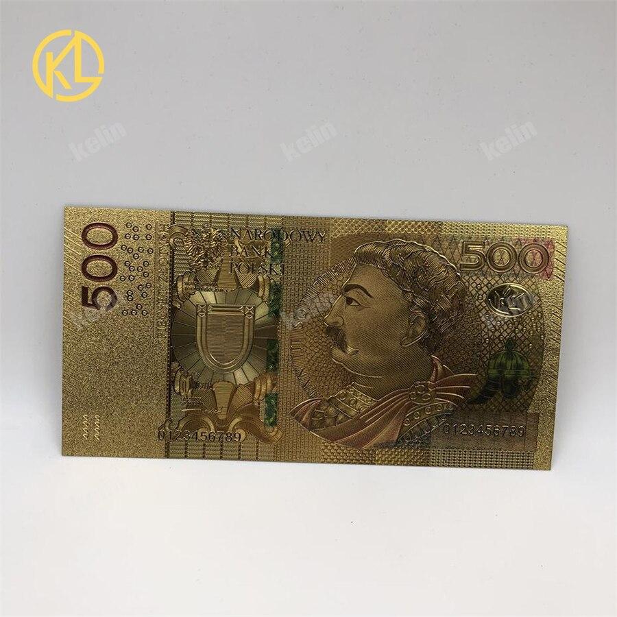 A moeda colorida quente de 1pc 2017 da polónia projetou a nota chapeada ouro 24 k 500 pln para presentes da lembrança do banco
