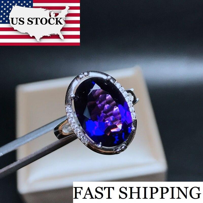 Uloveido Big Crystal Amethyst Rings 925 Sterling Silver Fashion Crystal Ring February Birthstone Rings for Women