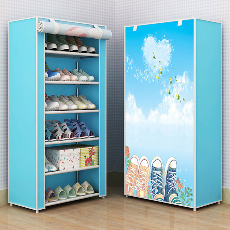Fashion Cartoon Pattern Cloth Shoes Cabinet Folding DIY Assembly Shoes Rack Organizer Household Finishing Furniture|Shoe Cabinets| |  - title=
