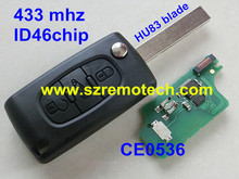 CE0536 Cheap 3 button flip remote key 433mhz with ID46 Chip HU83 307 Blade Fit For CITROEN C2 C3 C4 C5 C6 Car Alarm Keyless