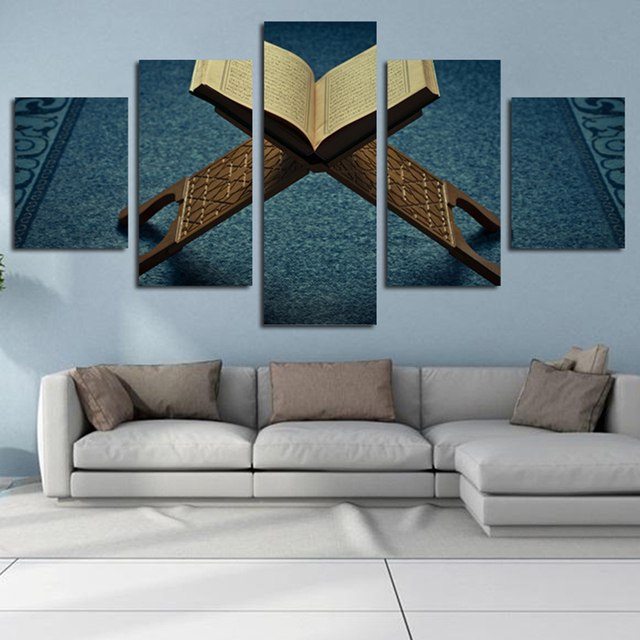 5 Panel Oil Painting Bookshelf Spray Printing Blue Background Wall Decor Art Poster Unframed