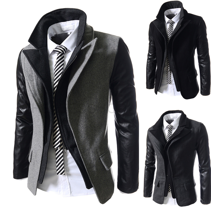 2014 New Winter Brief Double Collar Fashion Business Mens Jackets Slim fit Outerwear Casual Zipper Coats