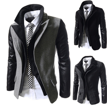 2014 New Winter Brief Double Collar Fashion Business Mens Jackets Slim fit Outerwear Casual Zipper Coats Woolen Overcoat M-XXL
