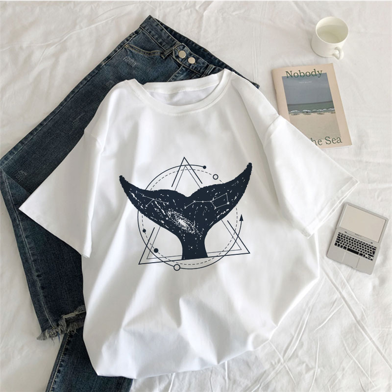 Vintage Vogue Whale Tail Printed Gothic Tshirt Cosmic Belief Harajuku Summer Tops T Shirt Women Vintage Streetwear Vegan T-shirt