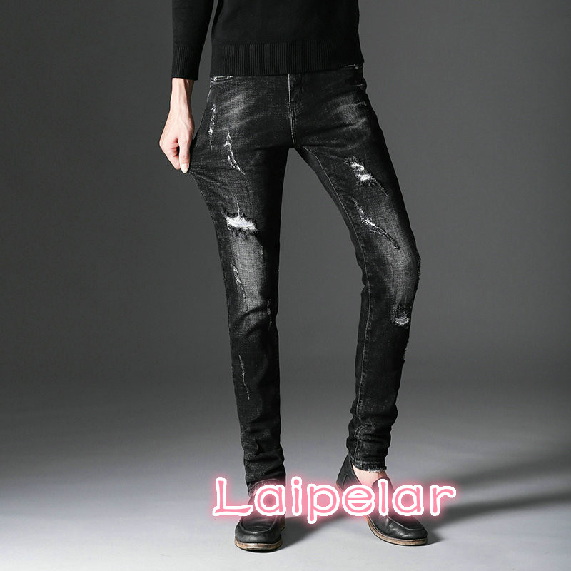 Laipelar Black Skinny Jeans Men Ripped Denim Hole Jeans Casual Cotton Stretch Jean Male Designer Slim Fit Quality Jeans Homme