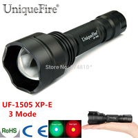 UniqueFire UF1505 XP-E Green / Red LED Light Zoomable Flashlight Single File 38mm Aspherical Lens For Hiking Free Shipping