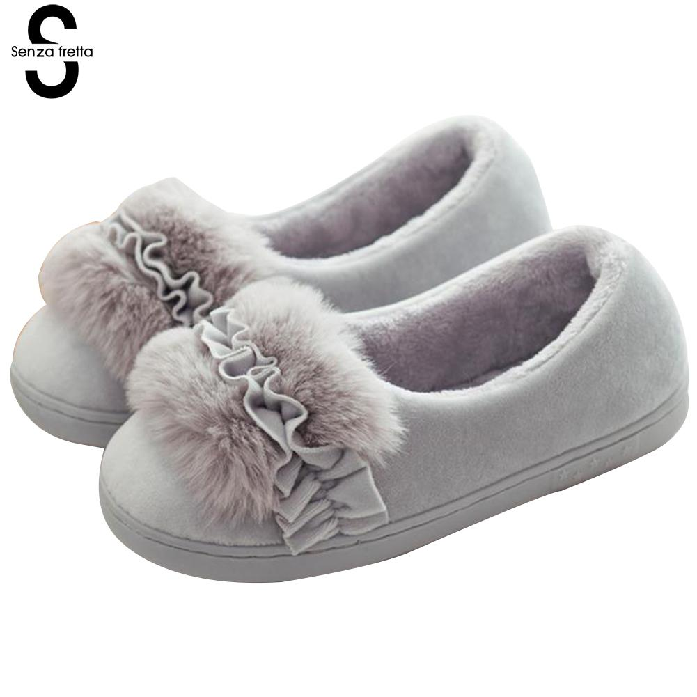 Senza Fretta Women Shoes Winter Warm Home Slippers Bag Heel Plush Cotton Slippers Indoor Soft Non-slip Furry Slippers Home Shoes senza fretta women shoes new summer pvc slippers couples women anti slip home slippers indoor soft bottom women slippers