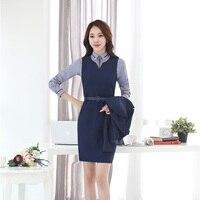 Nova Moda Slim Blazers Ternos Das Mulheres de Negócio Trabalho Profissional Com Blusas E Vestido Para Senhoras Escritório Outfits Set