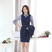 New Fashion Slim Blazers Professional Business Women Work Suits With Blouses And Dress For Ladies Office