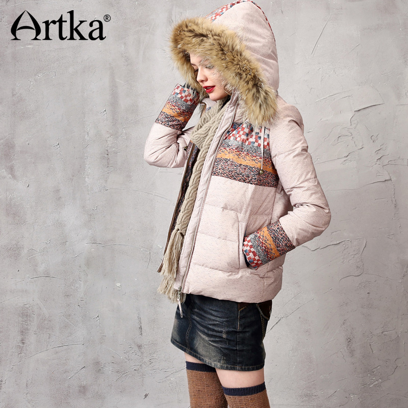 Artka Womens White Duck Down Jacket With Hood Female Fur Parka Short Windbreaker Print Ladies Overcoat Warm Outerwear DK15357D