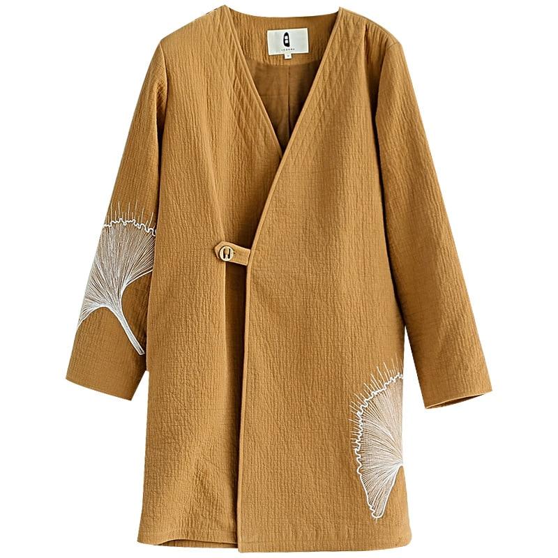 Femmes Coton Nouveau Original Hiver Bouton Lin De Feuille Manteau V Ginkgo Camel Littéraire Long cou Automne Broderie r5wYRYtx