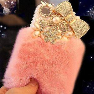 Image 1 - Шикарный чехол с кристаллами и пушистым кроличьим мехом, зимний мягкий чехол с кристаллами, блестящий Меховой чехол для samsung S7, S8, S9, S10, S20 Plus, Note 20, 10, 8, 9