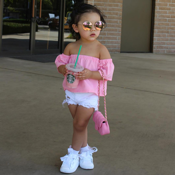 2019 New Fashion Children Girls Clothes Off shoulder Crop Tops Pink+ Hole Denim Shorts Jean Toddler Kids Clothing MCC024 1