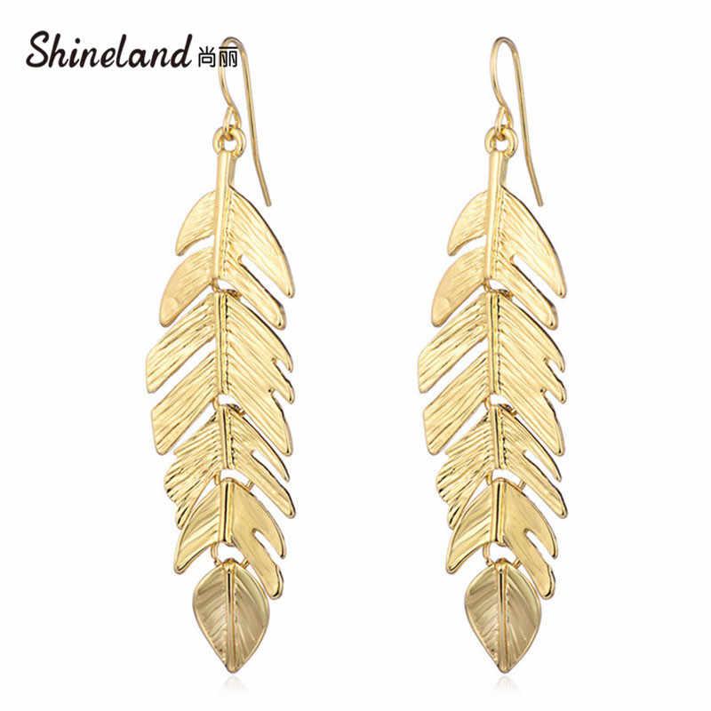 Shineland 1 คู่ทองสี Leaf Vintage Dangle ต่างหูผู้หญิง Drop ต่างหูแฟชั่นเครื่องประดับ Brincos Pendientes ของขวัญ 2019