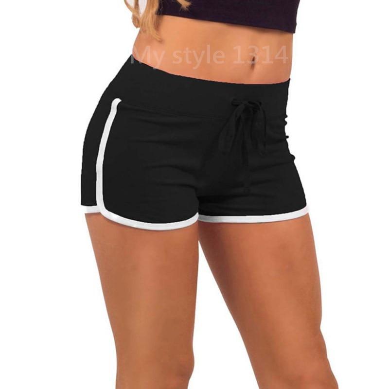 Hot Sale Yo-Ga Drawstring   Shorts   Women Casual Loose Cotton Contrast Binding Side Split Elastic Waist   Short   Femme
