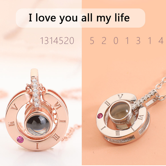 Charm Rose Gold Silver 100 languages I love you Projection Pendant Necklace For Women New Romantic Memory Wedding Necklace Gift