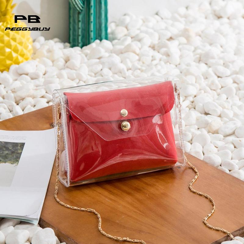 2pcs/set Crossbody Bags for Women 2018 PU Chain Messenger Bags Clear Jelly Transparent PVC Bags Candy Colour Tote Bolsos Mujer pink pvc crossbody bags with small pu bags