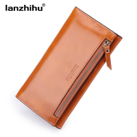 2017 New Genuine Leather Wallet for Women Fashion Long Luxury Oil wax Leather Purse Female Slim Wallets Phone Card Holder Clutch