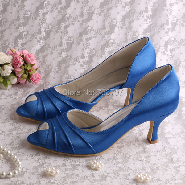 20 Colors Custom Handmade Blue Satin Party Prom Shoes Medium Heel 6 5CM Open Toe
