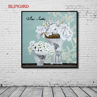 Europe About Vintage Painting Effect Vase Home Decoration Painting Living Room Bedroom Poster Canvas Art Print