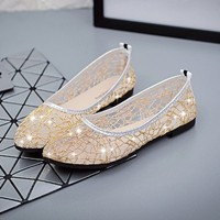 Women Cutout Nets Glitter Loafers 2016 Summer Ballet Flats Female Breathable Shoes Summer Flat Sandals Mujer
