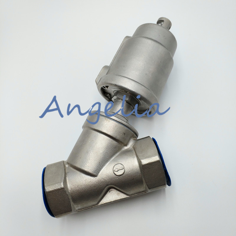 DN50 2 BSP Double Acting Air Actuated Stainless Steel 304 Angle Seat Valve Normally Open free shipping seat actuator double cheap steam water stainless steel valve angle dn25 1 inch normally open for air