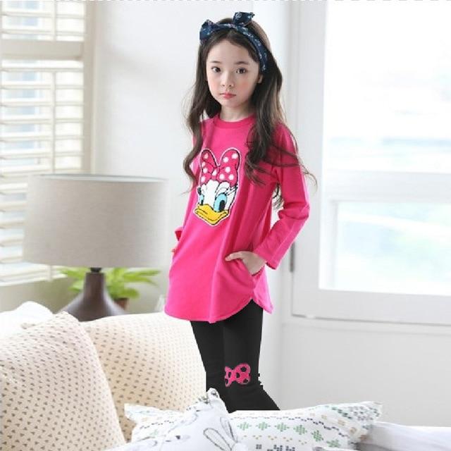 824b4db923e26 Hot Style Odzież dziecięca Moda Wiosna i Jesień Garnitur Cartoon Kaczki  Bawełna Dziecko 2 pc zestawy