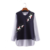 Fashion Women Knit Patchwork Beading Blouse Elegant Floral Office Wear Shirts Ladies Long Sleeve Tops Blusas