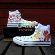Pokemon Go Converse All Star White Women Men Sneakers Ninetales Rapidash Ponyta Vulpix Design Hand Painted Shoes Woman Man