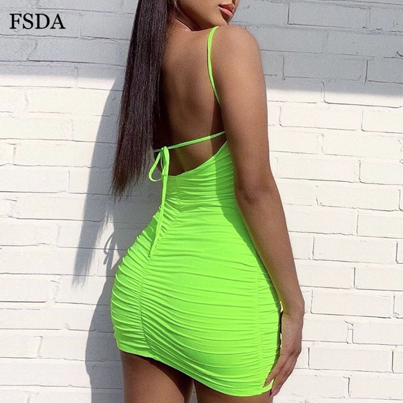 FSDA Neon Green Bodycon Mini Dress Backless Sleeveless Ruched Spaghetti Strap Sexy Club Lace Up Women Party Dresses Summer