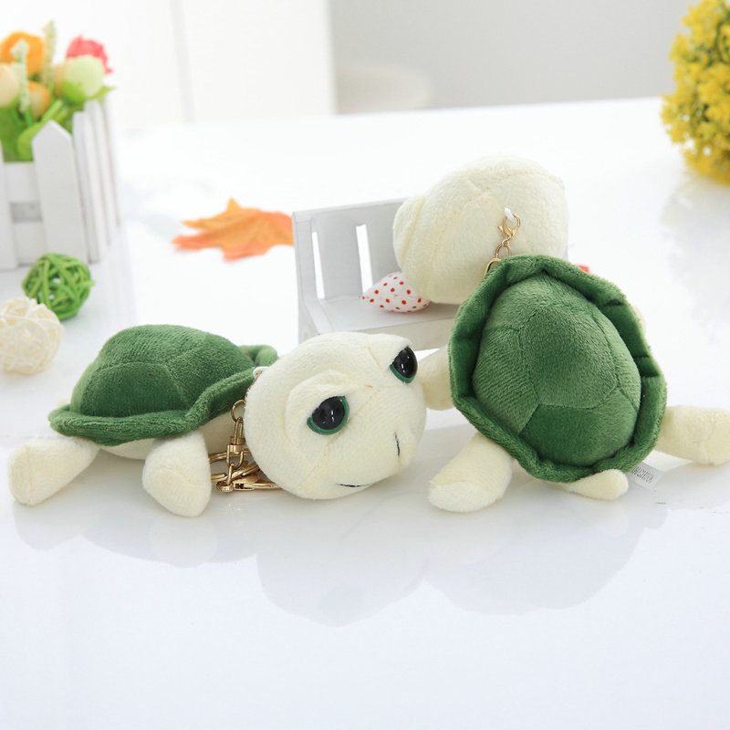 10CM Cute Big Eyes Turtle Plush Toy Staffed ortoise Pendant Rose Granules Kids Doll Fashion Key Chains Kawaii Gift for Girls