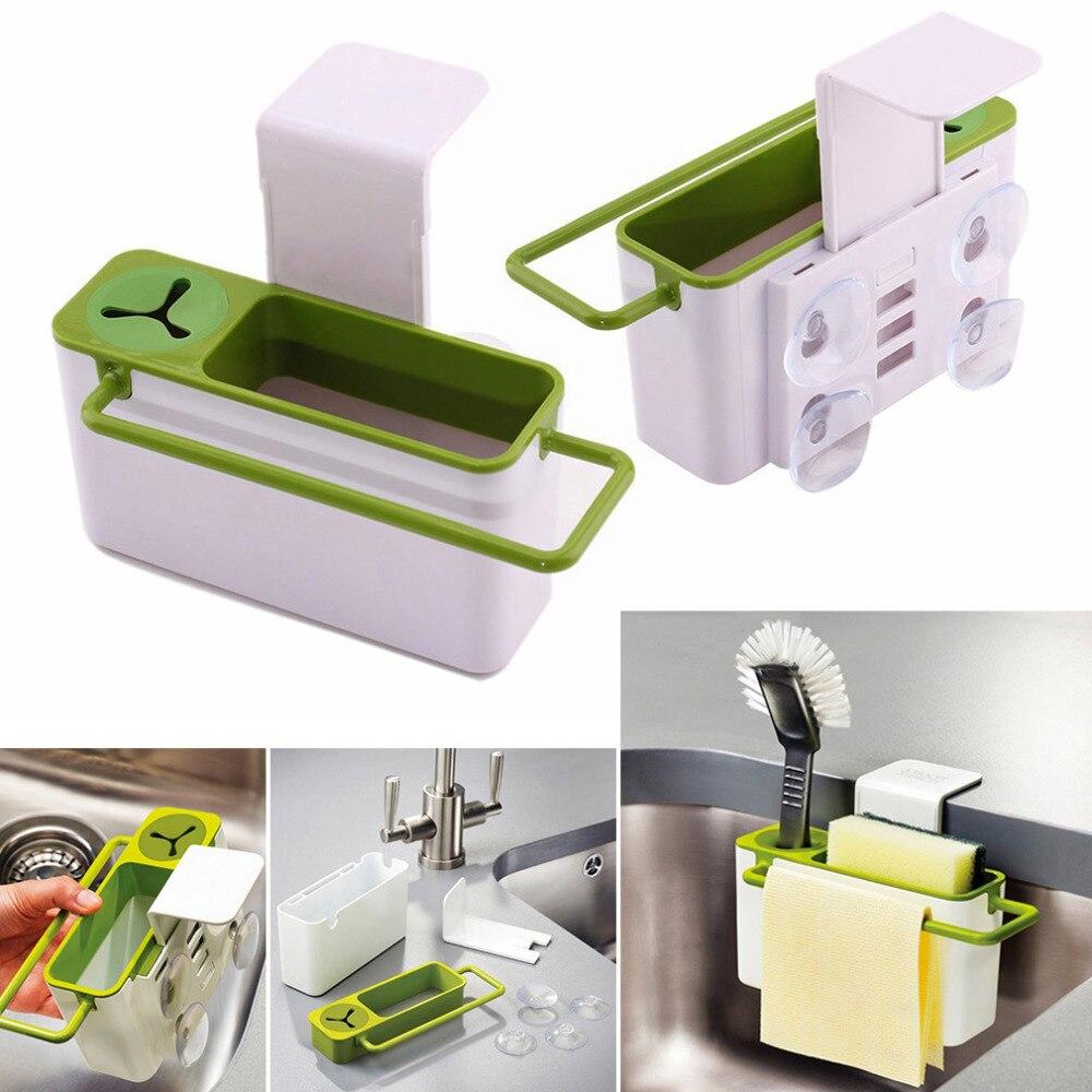 Portable Mini Kitchen Racks Shelves Suction Cup Base Kitchen Brush ...