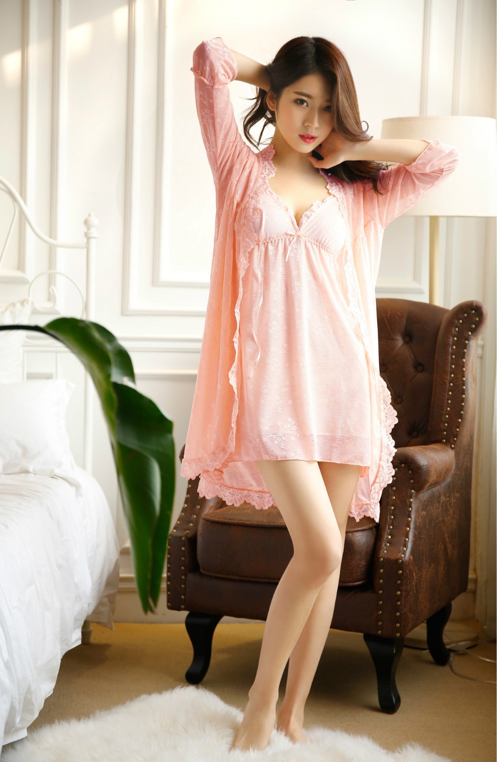 Sexy 2017 new arrival brand lace robe & gown set Plus Size two piece suspender sleepwear + bathing robe long sleeves underwear
