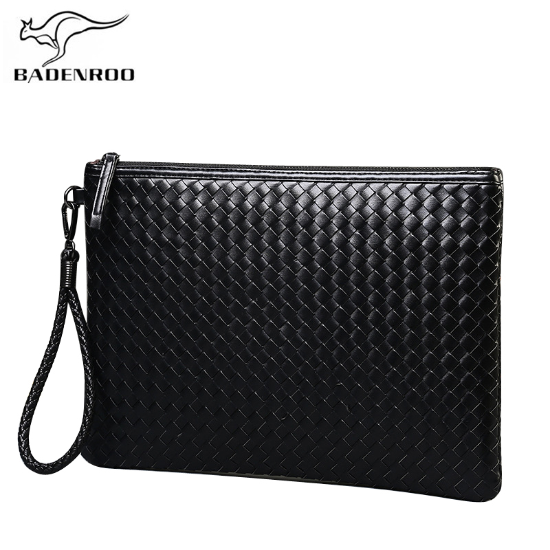 Badenroo Brands Men Bag Leather Weave Knitting Clutch Bag Shoulder Bag Wallet Handy Bag Handbags Day Clutches Male Large Purses