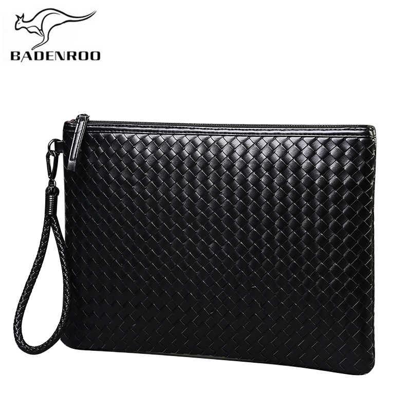 cc7a31955642 Badenroo брендовая мужская сумка из кожи плетеная вязаная сумка-клатч сумка  на плечо кошелек удобная