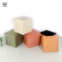 luluhut linen home storage box toy organizer folding Stool Multi function storage bench footstool for changing shoes