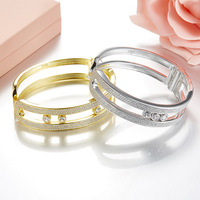 Роскошные Soild 925 пробы серебро движется камни браслет полный кубические цирконы бренд Дизайн женские свадебные браслет