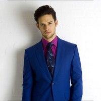 Индивидуальный заказ смокинг жениха, заказ королевский синий костюмы, 1 Кнопка Нотч лоскут карман, индивидуальные Нарядные Костюмы для свад