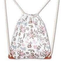 2018 New Fashion 3D Printing Girl Drawstring Bag Mochila Flower Backpack Casual Mochila Backpack Girl bag