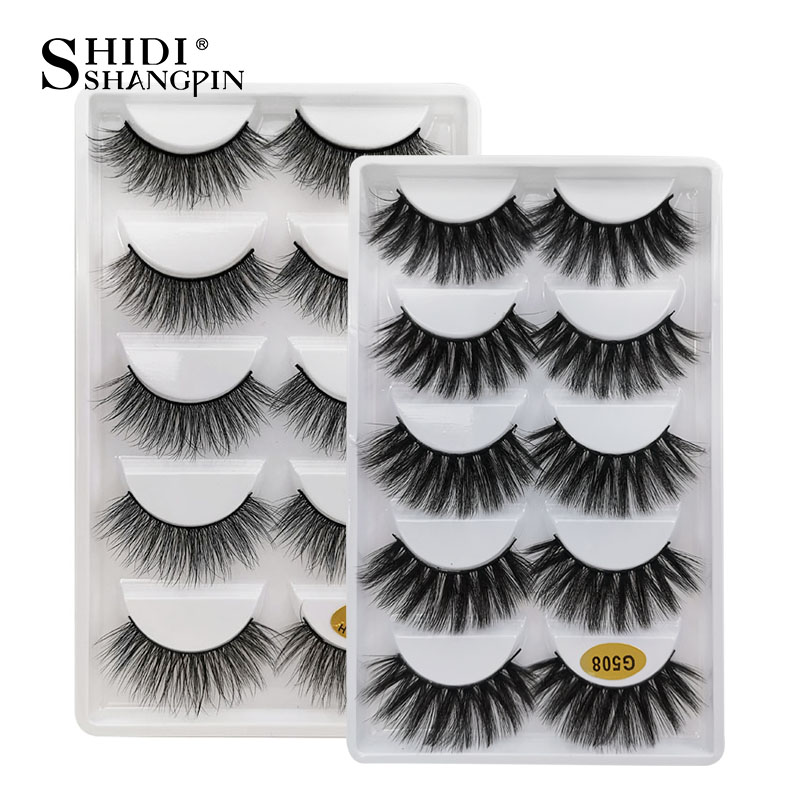 SHIDISHANGPIN 5 Pairs Fake Eyelashes Natural Mink Eyelashes Makeup False Eyelashes Cross 3d Mink Lashes Faux Cils Maquillaje