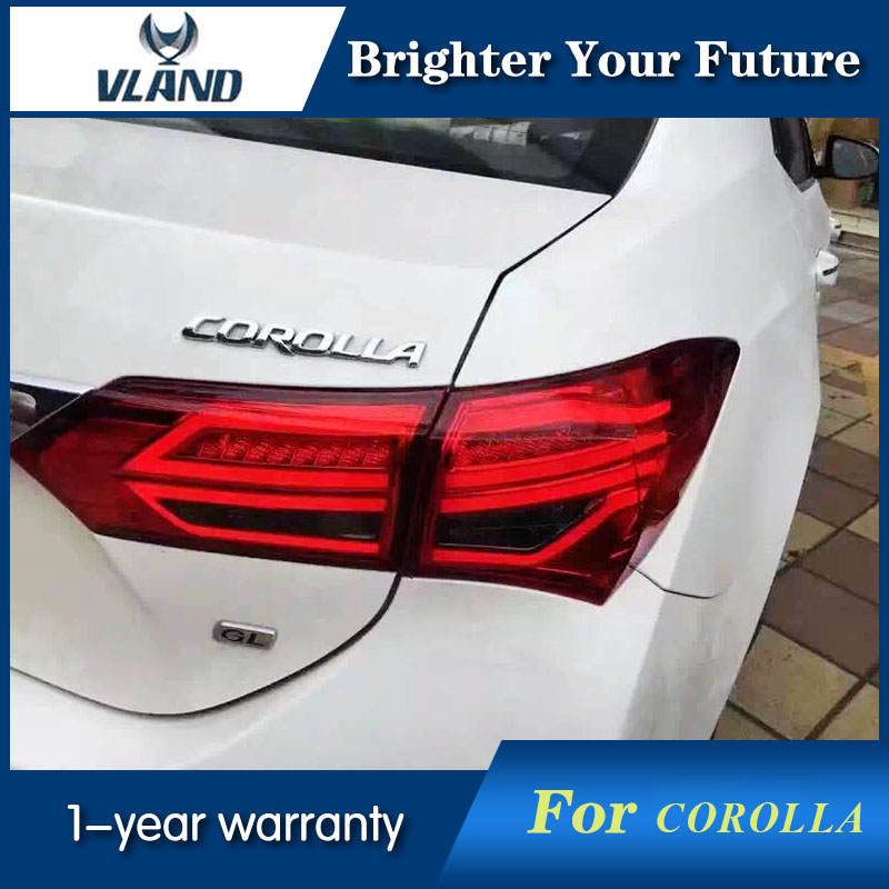 Modified LED Red Rear Tail Lamps Striped Lights Fit For <font><b>Toyota</b></font> Corolla 2014 2015 2016 taillights Tail Lights LED Rear Lamp image