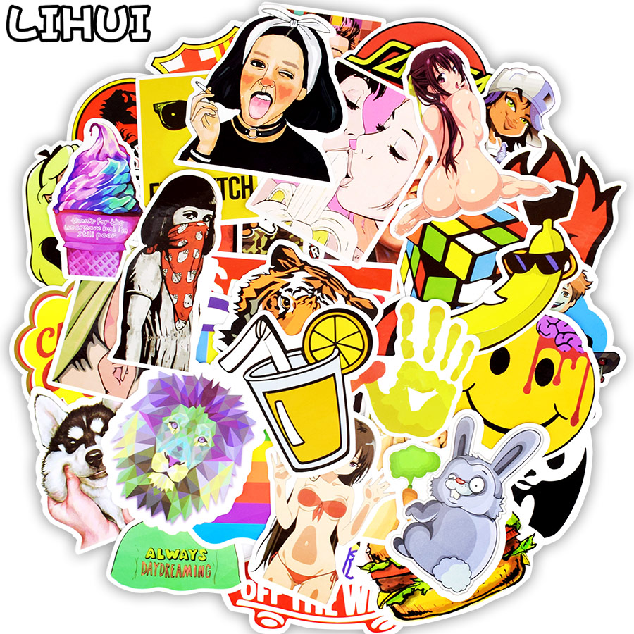 50pcs Colorful Random Sticker Mixed Graffiti Anime Funny Waterproof PVC Stickers for Suitcase Skateboard Laptop Fridge Stickers original new arrival official nike air huarache city low women running shoes outdoor sports shoes ah6804