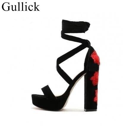 15d5714f69ae Women Open Toe Black Suede Leather High Platform Sandals Super High Heel  Rose Embroidery Heel Sandals Dress Shoes Size 10