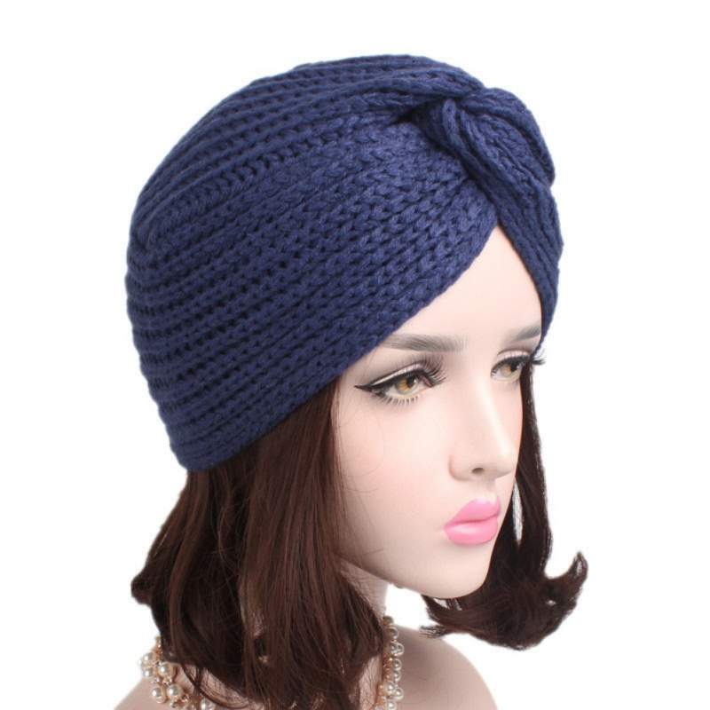 Turban Hat   Beanies   Winter Hats & Caps Women Knitted Wool Cap Female Casual Solid Color Hip Hop   Skullies     Beanie